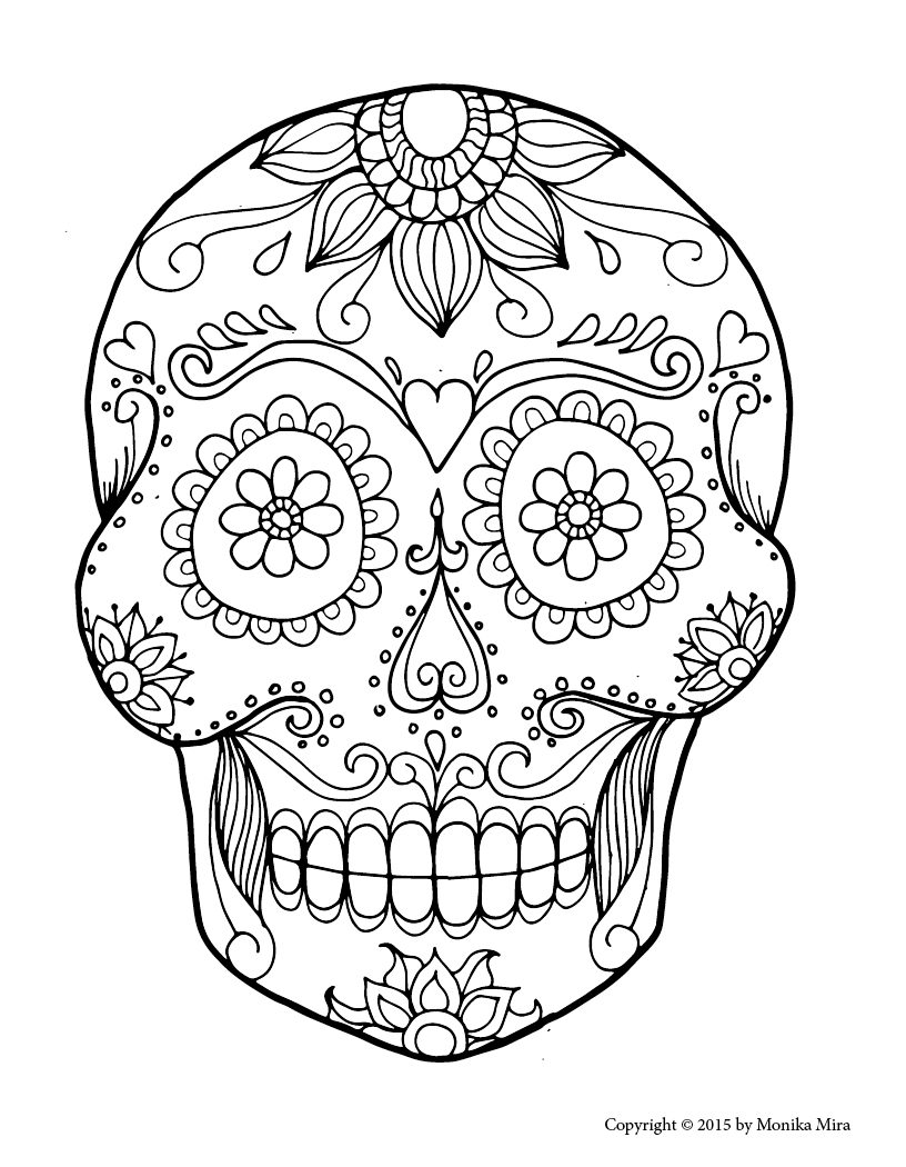 816x1050 Sugar Skull Coloring Pages Pdf Free For Adults And Crossbones