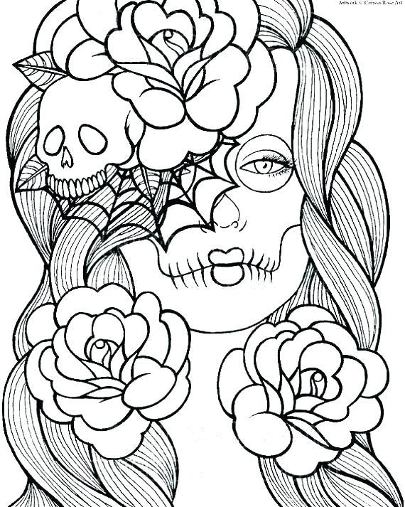 570x713 Sugar Skull Coloring Pages Pdf