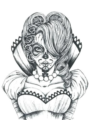 375x500 Coloring Pages Sugar Skull Coloring Page Collection Of Pages Sugar