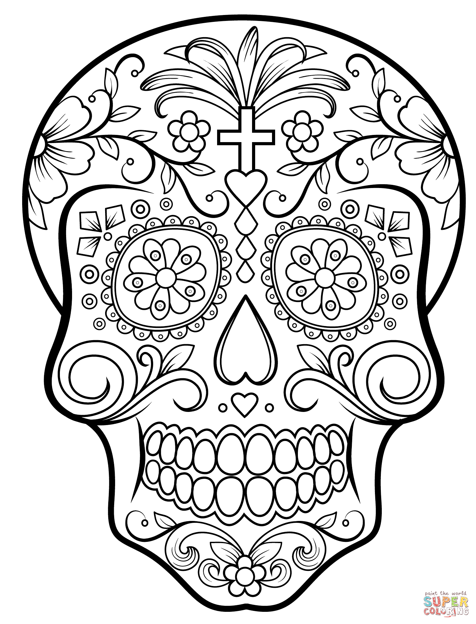 1526x1998 Day Of The Dead Sugar Skull Coloring Page Free Printable