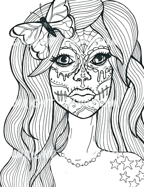 570x738 Sugar Skull Colouring In Medium Size Of Sugar Skull Coloring Pages