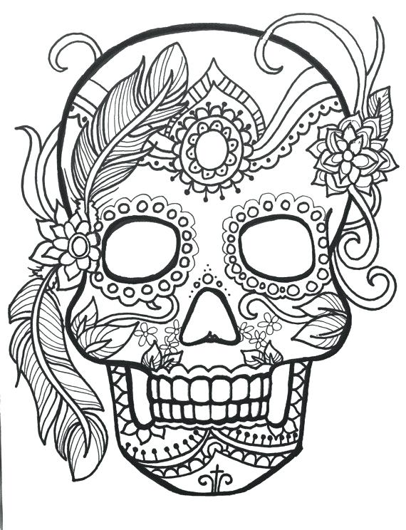 570x744 Sugar Skull Day Of The Dead Original Art Free Coloring Printable