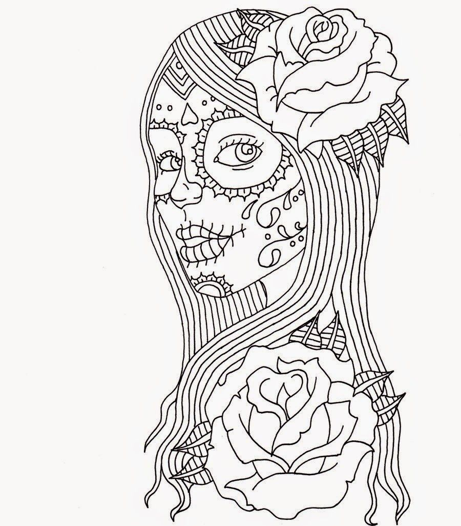 900x1026 Day Of Dead Girl Coloring Pages, Day Of The Dead Coloring Page