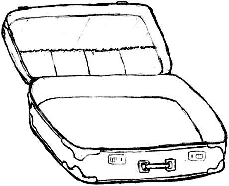460x374 Suitcase Coloring Page Suitcase With Clothes Coloring Sheet