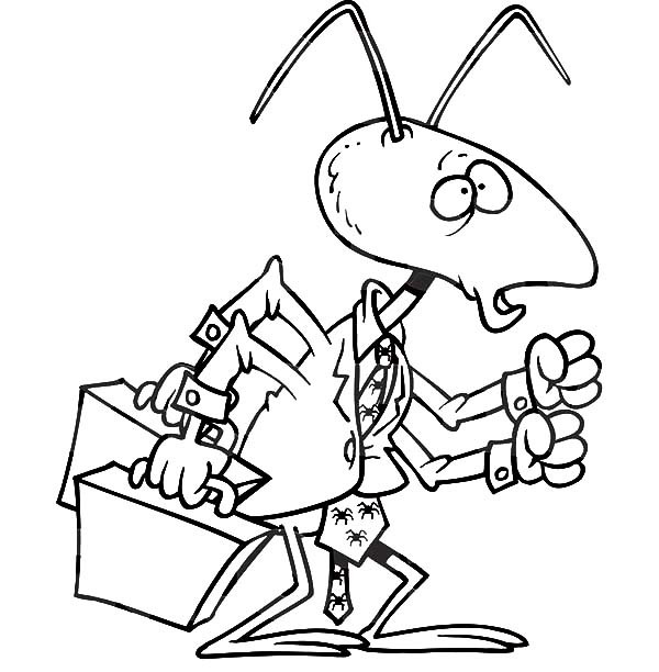 600x612 Business Man Ant Bring Two Suitcase Coloring Pages Best Place