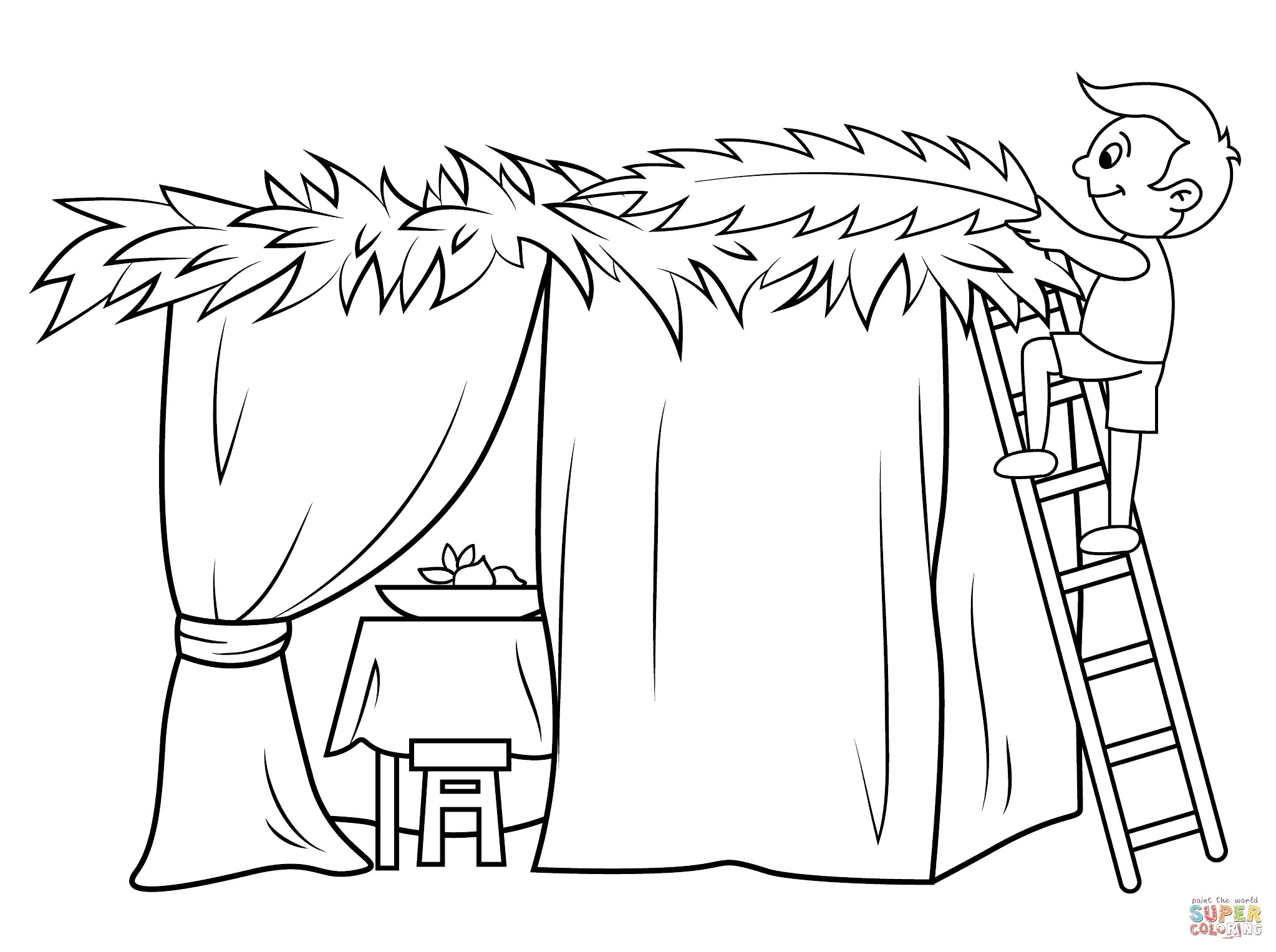2046x1526 Sukkot Coloring Pages Inspirational Boy Builds A Sukkah Coloring