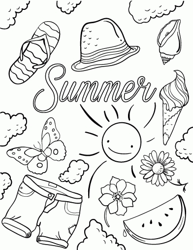 392x507 Free Printable Summer Coloring Pages Collections Free