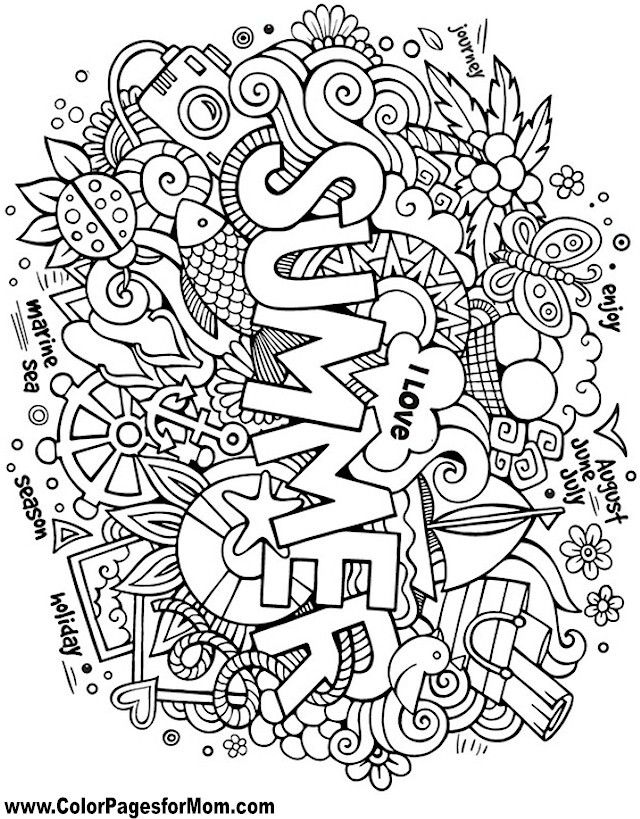 640x819 Summer Summer Fun Summer, Adult Coloring And Doodles
