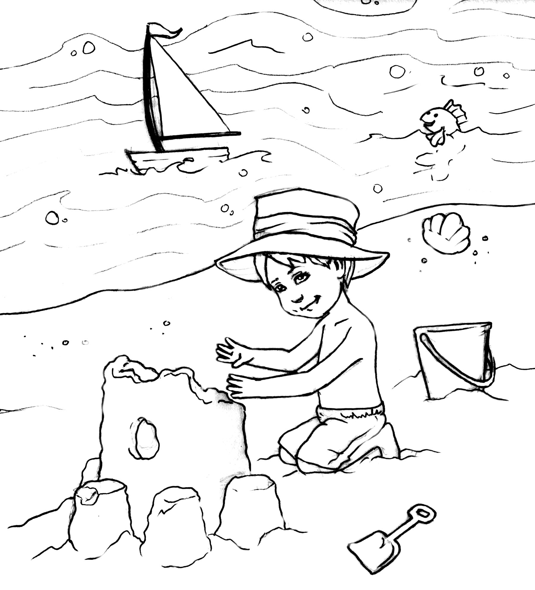 1800x1983 Free Printable Beach Coloring Pages Page