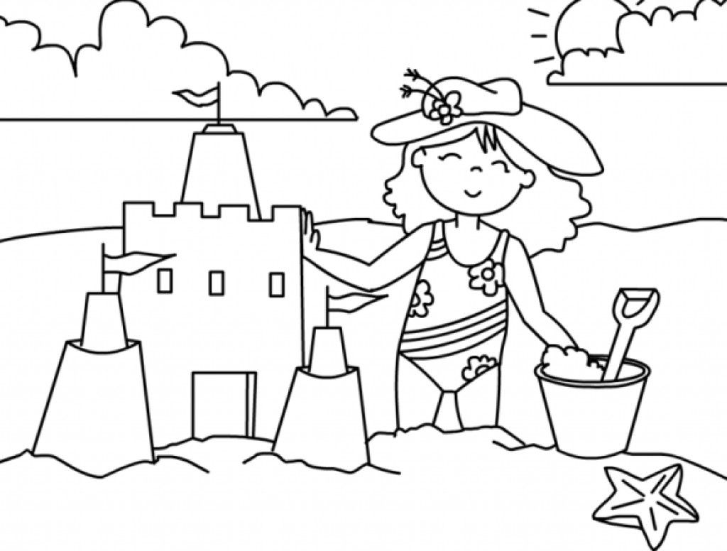 1024x776 Fun Summer Beach Coloring Page For Girls Fun Coloring Pages