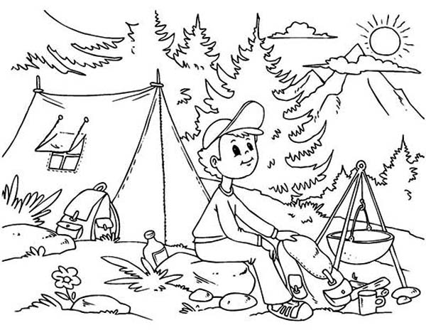 600x471 Summer Camp Coloring Pages A Boy Sitting At Summer Camp Coloring