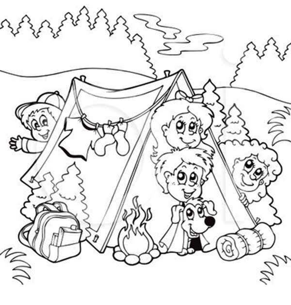 600x630 Bunch Of Kids And A Dog On Summer Camp Coloring Page