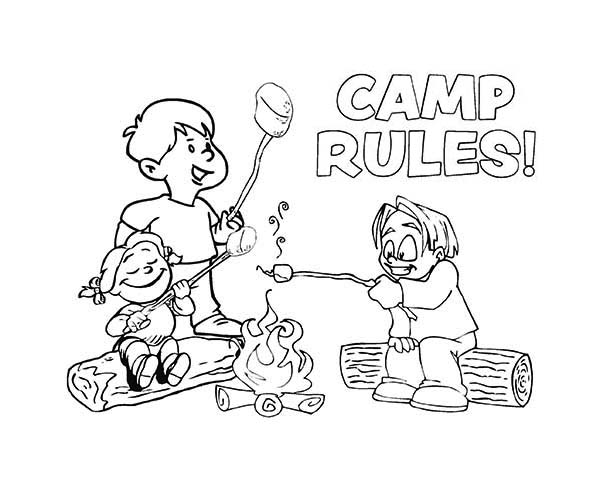 600x484 Camp Rules On Summer Camp Coloring Page