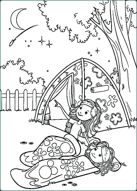 557x778 Camping Coloring Pages Camp Coloring Pages Bunch Of Kids And A Dog