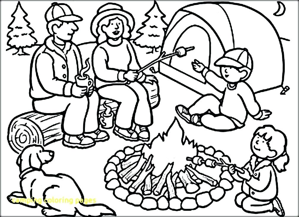 1007x731 Camping Coloring Pages Camping Coloring Pages To Print Summer Camp