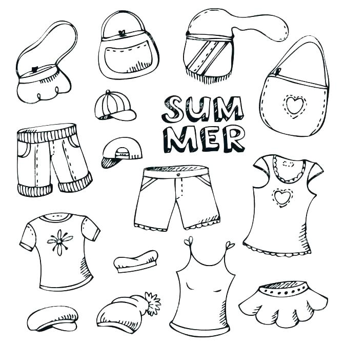 671x671 Clothes Coloring Page Summer Clothes Coloring Pages