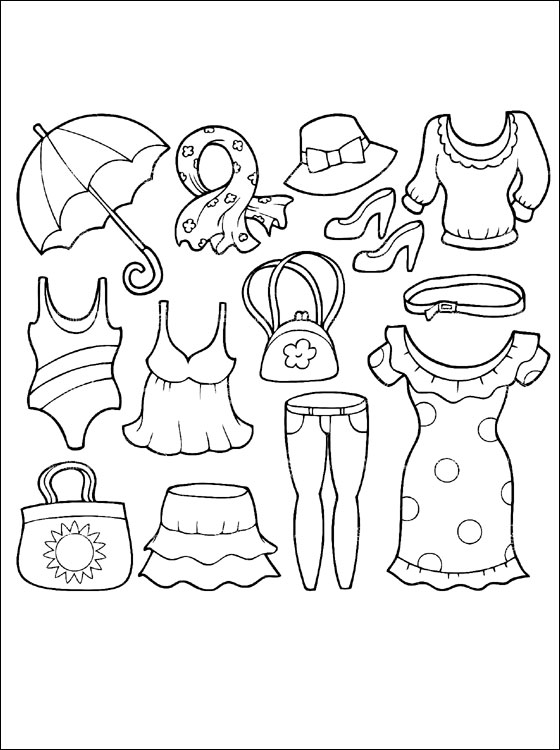 560x750 Summer Clothing Coloring Page Coloring Pages Shrinky Dinks