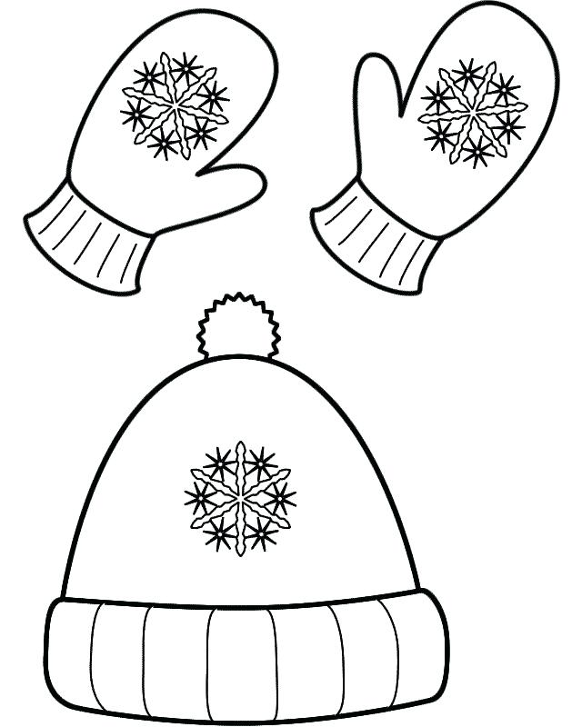 640x800 Clothing Coloring Pages Trend Hat And Mittens Winter Clothes