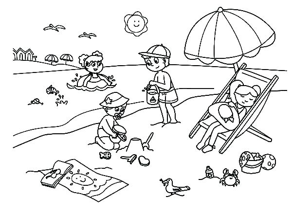 600x442 Summer Coloring Pages Printable Summer Coloring Pages At The Beach