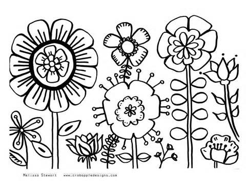 480x370 Summer Flower Coloring Pages Printable Sketch Template Colour