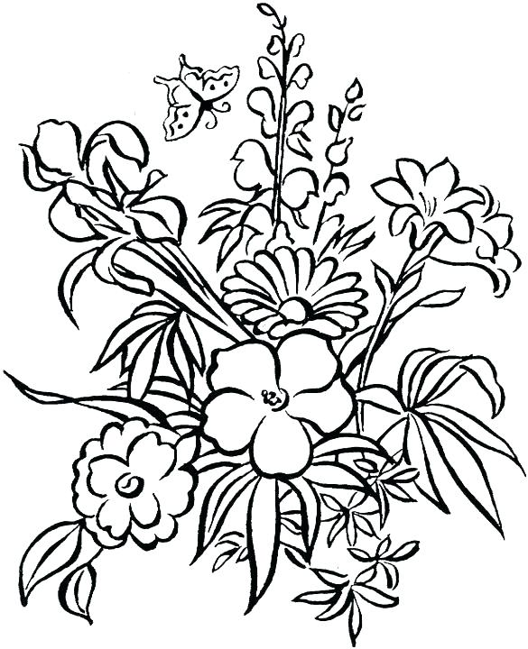 585x720 Summer Flowers Coloring Pages Printable Easy Flower These Free