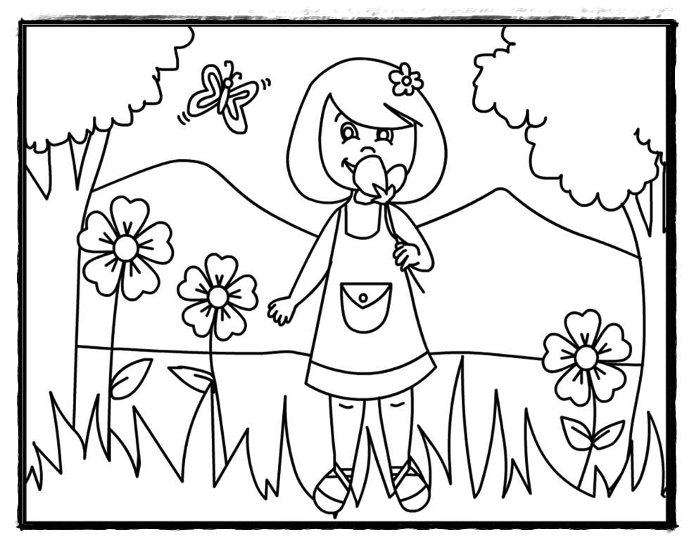 986x776 Summer Flower Coloring Pages