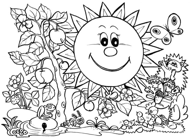 728x535 Sunny Garden Coloring Page For Kids Seasons Pages Fun Summer