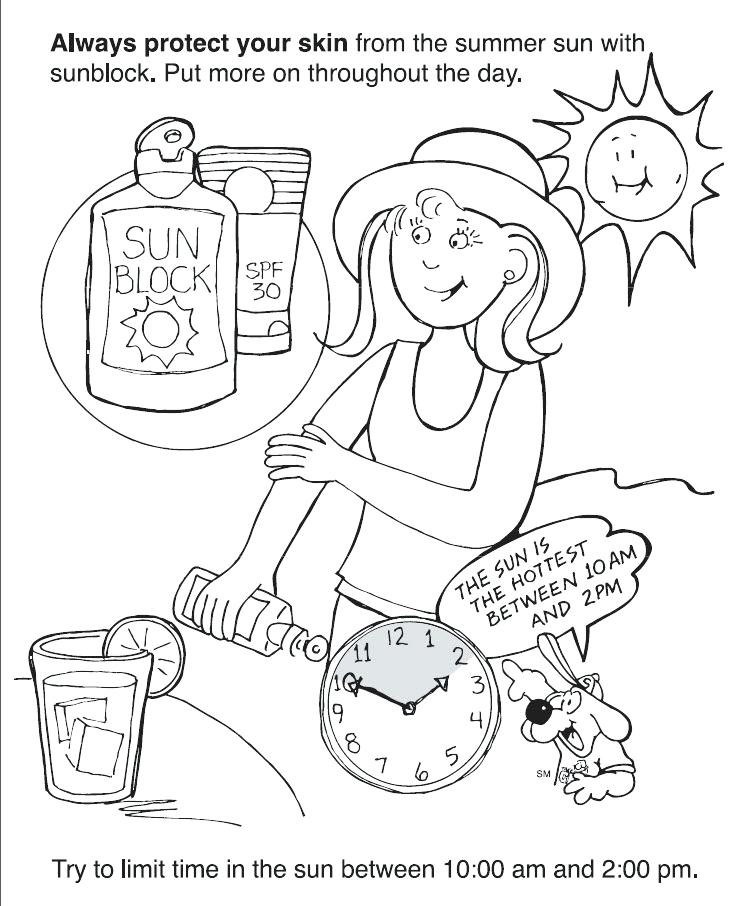 734x906 Coloring Pages For Summer Safety Coloring Page For Kids Coloring