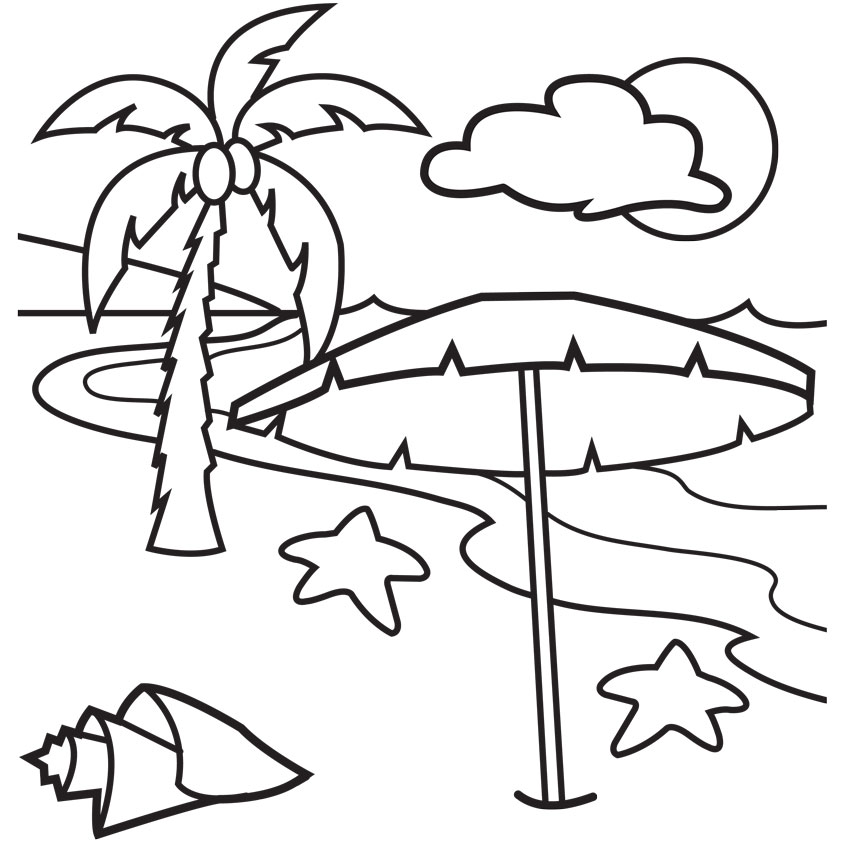 842x842 Beach Scene Coloring Pages For Kids