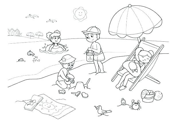 600x442 Beach Scene Printable Coloring Pages Summer Colouring