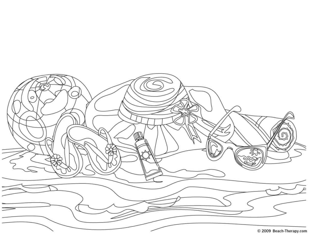 1260x959 Big Coloring Pages Of Beach Scenes Summer Scene Page Free