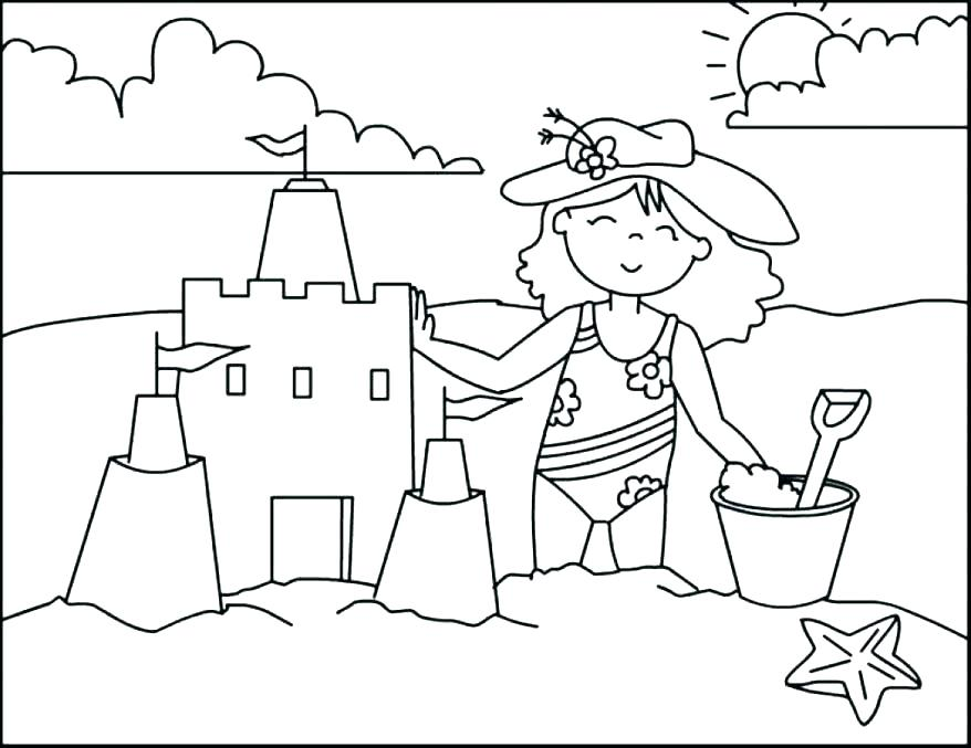 878x677 Coloring Page Beach Beach Printable Coloring Pages Printable Beach