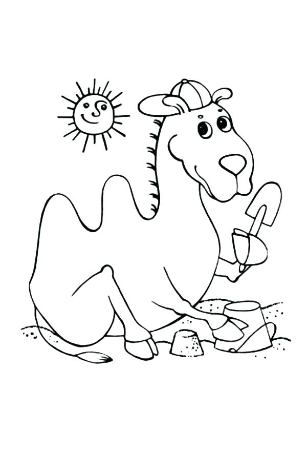 600x882 Free Printable Beach Scene Coloring Pages At The Summer Camel