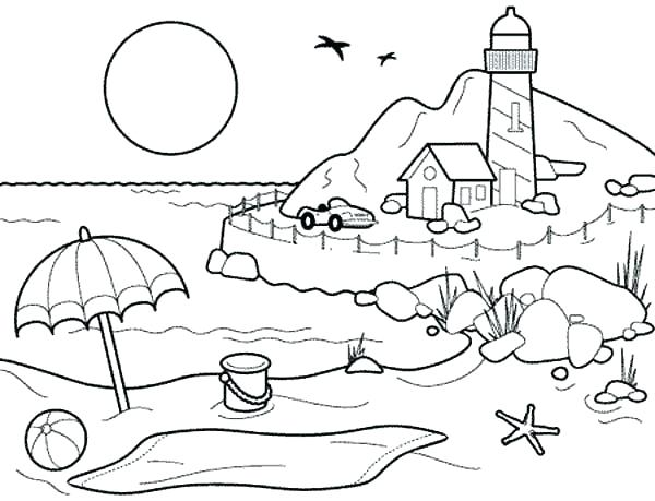 600x459 At The Beach Coloring Pages Tom And Beach Coloring Pages Printable