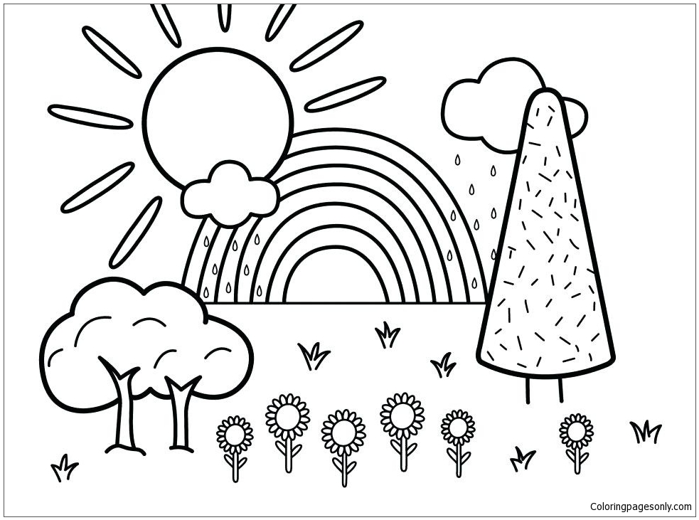 983x731 Summer Scene Coloring Page