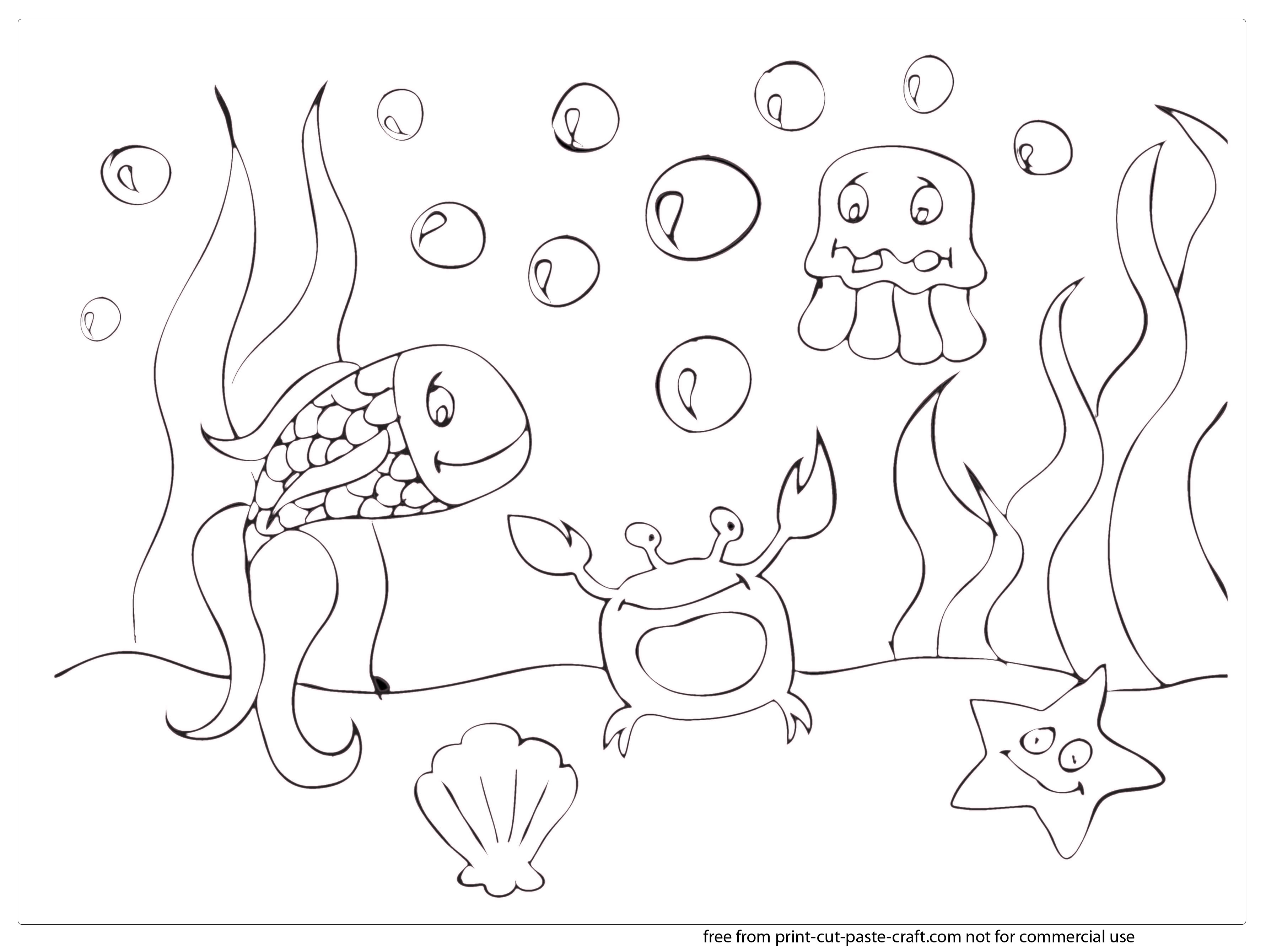 3608x2679 Summer Scene Coloring Pages Print, Cut, Paste, Craft Blog