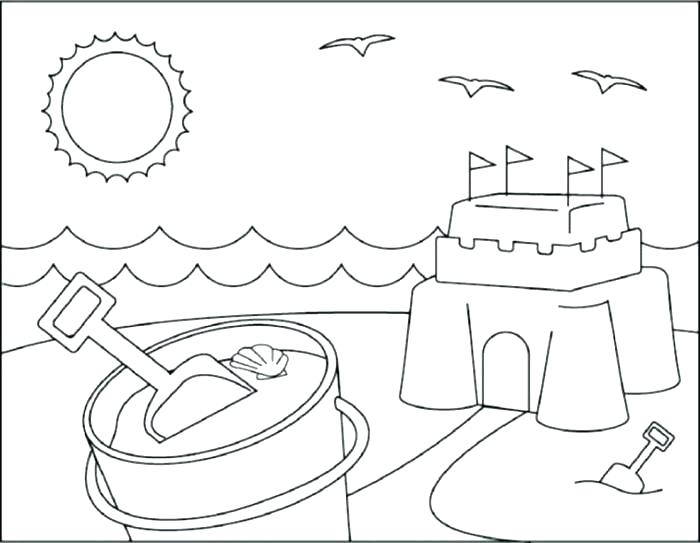 700x543 Beach Color Pages Beach Scene Coloring Pages Beach Coloring Page