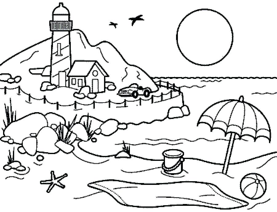 900x688 Beach Coloring Pages Beach Coloring Sheets Printable Beach