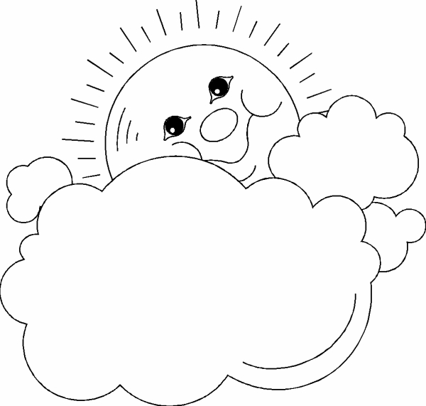 600x571 Coloring Pages Of The Sun And Clouds Photo Sun And Clouds Frame