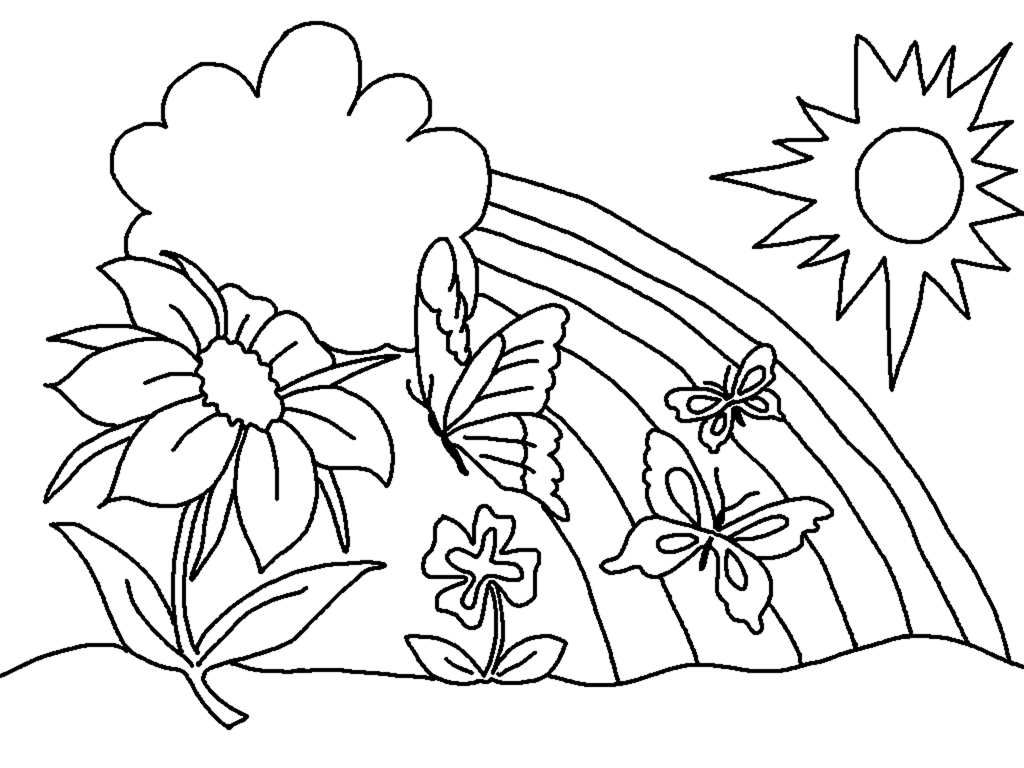 1024x768 Spring Coloring Pages Flowers Rainbow Clouds Sun Truly Hand Picked