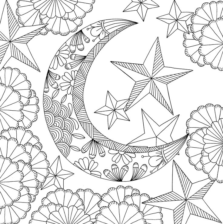 Tree Moon Stars Zendoodle | Sun Coloring Pages, Moon | Moon ... | 739x736