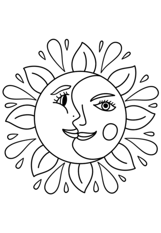 333x480 Sun And Moon Coloring Pages Trippy Page Free Printable