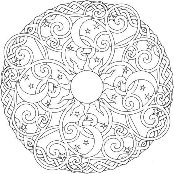 580x580 Sun Moon And Stars Mandala Coloring Pages Coloring Mandalas