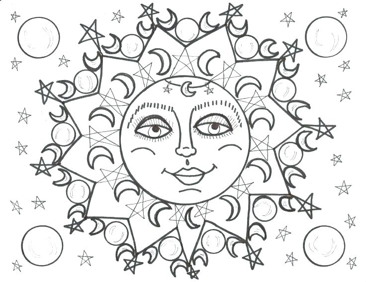 736x567 Moon Colouring Pages