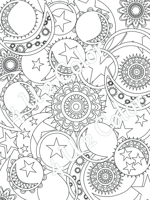 570x759 Moon And Stars Coloring Pages