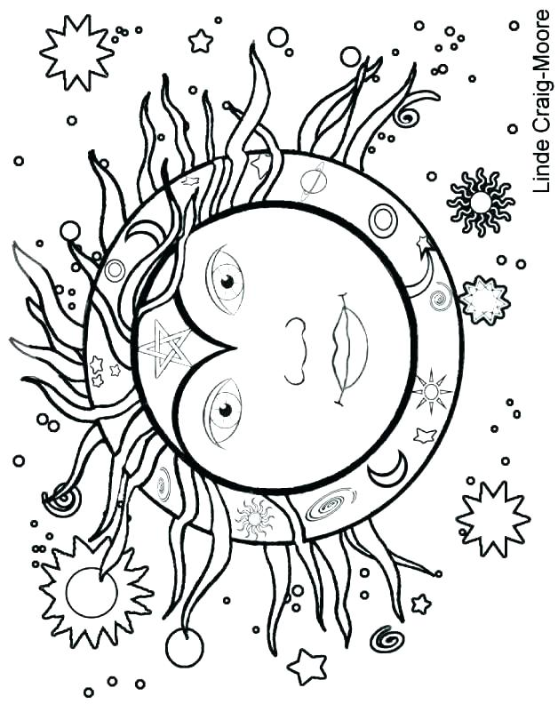628x792 Sun And Moon Coloring Pages