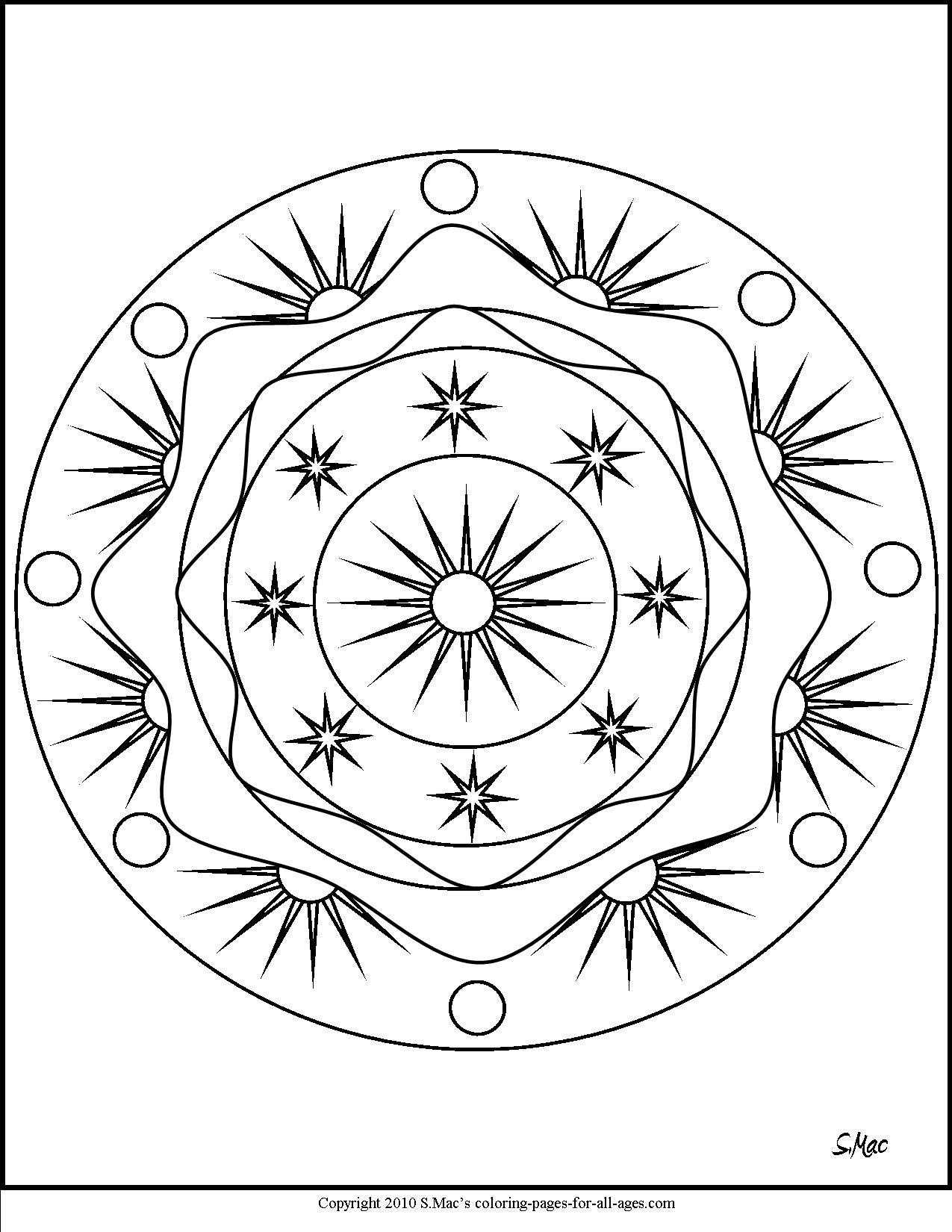 1275x1650 Lovely S Mac S Sun Moon And Stars Mandala Coloring Page Free