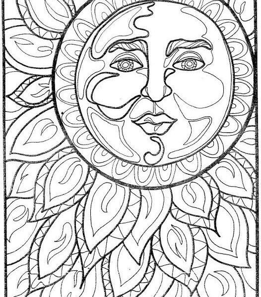526x600 Moon Coloring Pages For Adults Sun Mandala Coloring Pages Free