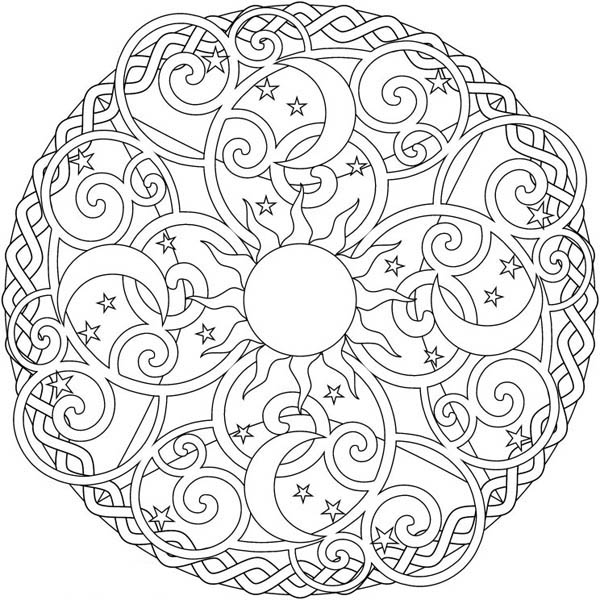 600x600 Moon Coloring Pages For Adults The Sun And The Moon Mandala