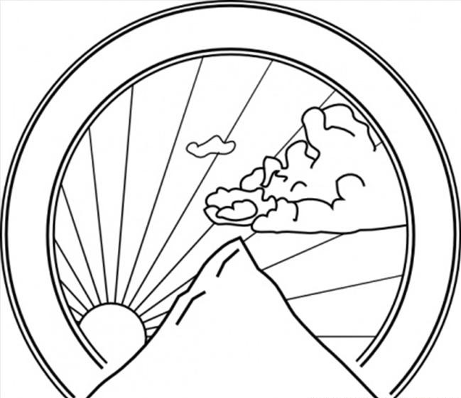 649x561 Mountain Sunshine Coloring Page Coloring Book